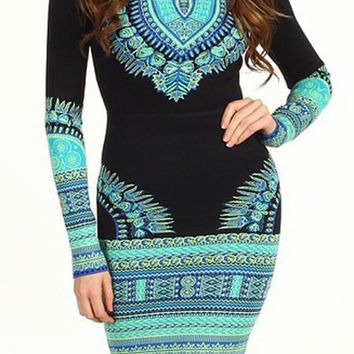 Black Printed Long Sleeve Bodycon Dress