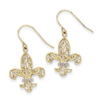 Two Tone Fleur De Lis Filigree Dangle Earrings in 14k Gold