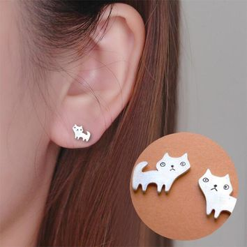 1 Pair Gold or Silver Tone Cute Cat Stud Earrings