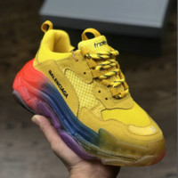 Yellow Balenciaga Triple S Sneaker Clunky Shoes with BOX