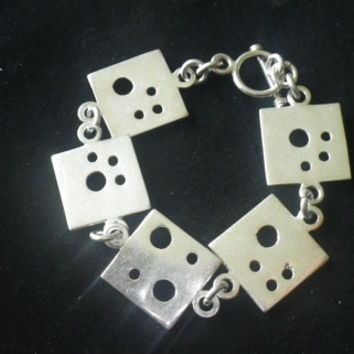 Beautiful Sterling Silver Unusual Square Bracelet