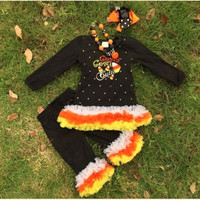 In Stock-Cutest Candy Corn Ruffle Pant Set