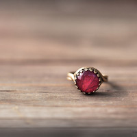Red rose ring - Flowers petal jewelry - Red, Wine, Burgundy - Bloom collection by BeautySpot (R060)