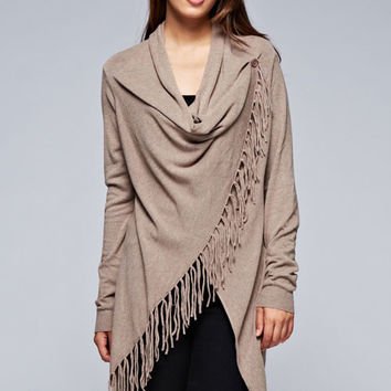 Love Stitch Carys Fringed Shawl Sweater with Button in Heathered Coco IMP5797-HTRCOCO