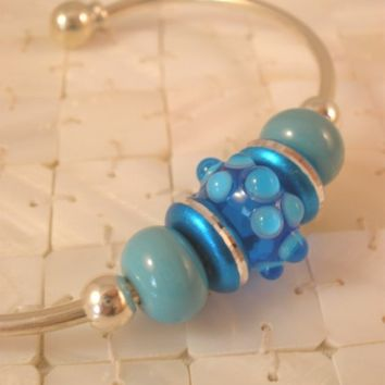 Aqua Blue Lampwork Beaded Cuff Bracelet, Sterling Silver Plate, Artisan Beads, Handcrafted Silver Jewelry