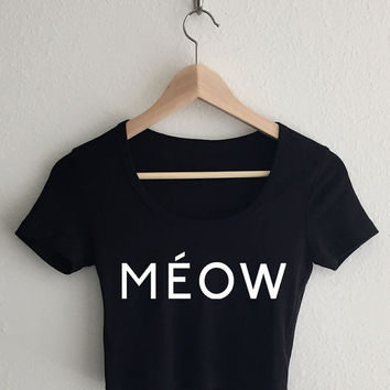 Meow Celine Style Typography Crop Top
