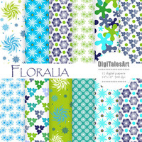 "Floral digital paper ""Floralia"" flower digital clip art papers in blue, green, teal, patterns, download, floral background"