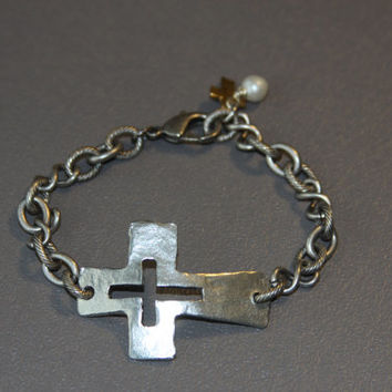 Sideways Cross Bracelet, cut out cross, urban chic, pewter, hammered, artisan, religious