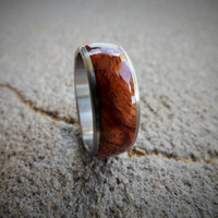 Wood ring- stainless steel ring with amboyna burl inlay