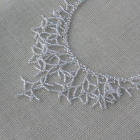 Silver Toned Necklace. Silver Necklace. Wedding Necklace. Beadwork.