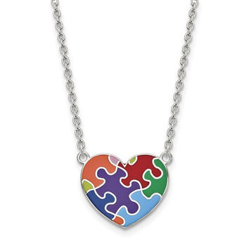 Sterling Silver Enameled Autism Puzzle Piece Heart Necklace