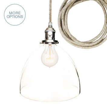 "8"" Clear Hand Blown Glass Pendant Light- Light Sweater Cord"