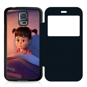Monsters Inc Boo Cry Leather Wallet Flip Case Samsung Galaxy S5
