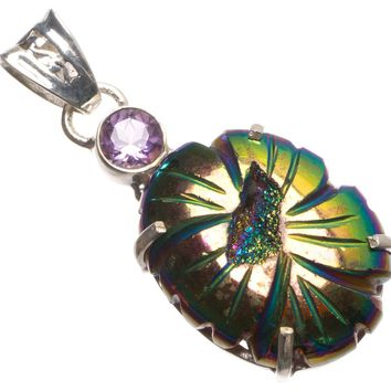 """Natural Titanium Druzy and Amethyst Handmade Mexican 925 Sterling Silver Pendant 1 3/4"""" U0481"""
