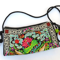 Sacred Lotus: Embroidered Shoulder Bag with Tassels