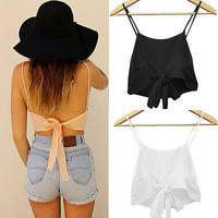 Sleeveless Camisole Shirt  Casual Blouse Crop Tops