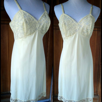Vintage 60s Slip Yellow Tricot Nylon Lace Illusion Vanity Fair 1960s Scalloped Hem Sweet Sun Full Slip 34 bust