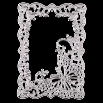 Butterfly Ectangle Frame Embossing Cutting Dies Stencil DIY Scrapbooking Album Cards Paper Decor Metal Craft