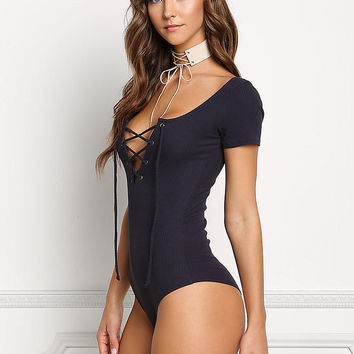Navy Ribbed Knit Lace Up Bodysuit