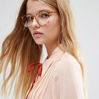 ASOS Geeky Round Clear Lens Glasses in Tort at asos.com