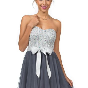 Teeze Me | Queen Colleen Strapless Corset Jewel Beaded Full Tulle Skirt Party Dress | Grey/Charcoal