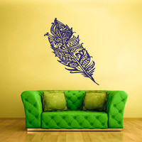 rvz1692 Wall Vinyl Sticker Bedroom Decal Birds Feathers Plume Nib Tribal Ethnical