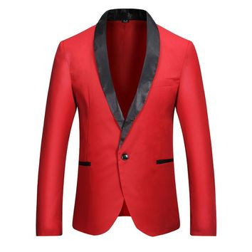 Fashion New Casual Men Brand Blazer Slim Fit Long Sleeve Single Button Solid Suit Coat Men Blazer Jacket Costume Homme Masculino