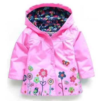 Toddler Girls Printed Waterproof Raincoat Jacket With Hoodie And Pop Stud Buttons