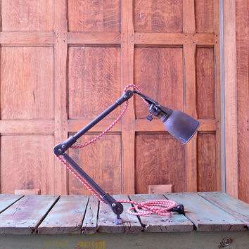 1940s Articulating Task Lamp, WORKS NEW CORD, Industrial Desk Lamp