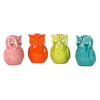 Urban Trends Colorful Ceramic Owl Banks -Set of 4 - 4.5W x 5D x 6H in. | www.hayneedle.com