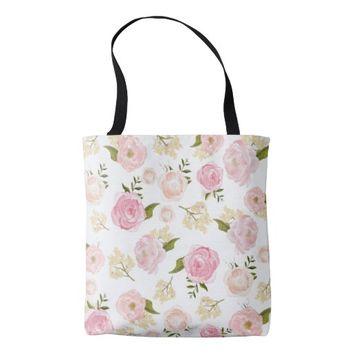Romantic Watercolor Blush Peonies Floral Pattern Tote Bag