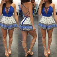 Boho Chasity Criss-Cross Front Playsuit