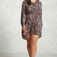Plus Size Belted Floral Dress