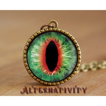 "Dragon eye necklace, evil eye, brass round glass cabochon 25mm, 1"" pendant, Green & Red"