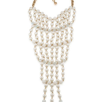 Carolee Life of the Party Pearl and Bead Drama Bib Necklace