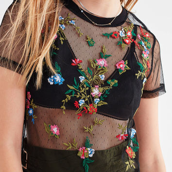 UO Polka Dot Mesh Floral Embroidered Tee | Urban Outfitters