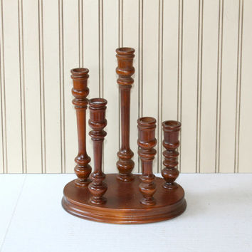 5 Turned Wood Candlesticks , Fixed Wooden Candlesticks on Base , 5 Different Heights Wooden Candlesticks , 5 Wooden Candle Holders