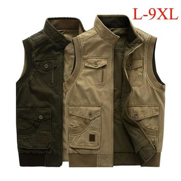 Plus size L-9XL tactical military vest men both side wear cotton multi-pockets hiking hunting vest Spring Autumn waistcoat colet