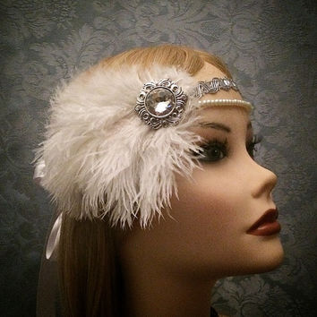 Unique Art Deco Ostrich Feather Flapper Silver Ivory Rhinestone Headband Boho Pearls Roaring Gatsby Head Piece 1920s 20s headpiece 1920's