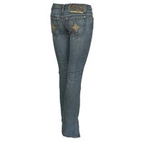 People Of The World Peostar Gold Star Boot Cut Womens Jeans Medium Wash Size 25