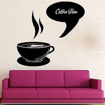 Wall Sticker Vinyl Decal Coffee Time Shop Restaurant Kitchen Decor Unique Gift (ig2026)