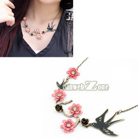 S0BZ 2012 New Fashion Korean Style Lovely Swallow flower Choker Necklace Hot