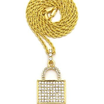 ICED OUT LOCK PENDANT w/ BOX CUBAN ROPE CHAIN