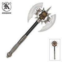 Ace Martial Arts Supply Death's Head Skull Fantasy Battle Axe with Plaque (Sharp)