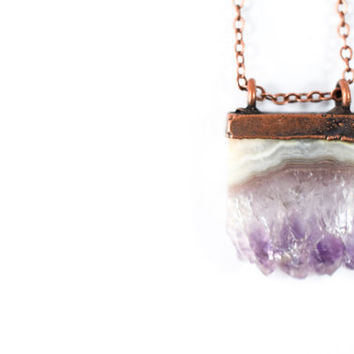 Amethyst crystal necklace | Amethyst slice pendant |  Electroformed raw amethyst necklace | Raw crystal jewelry