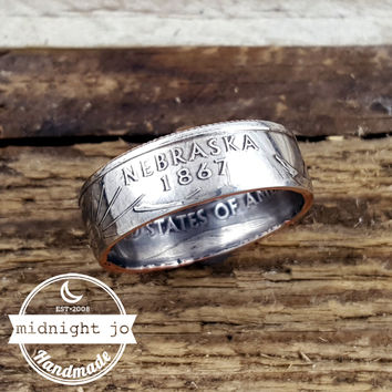 Nebraska State Quarter Coin Ring