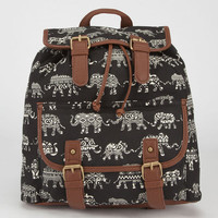 Ethnic Elephant Print Backpack Black One Size For Women 23489210001