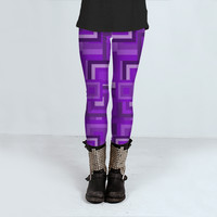 Purple Squares Retro Pattern by Hippy Gift Shop (Leggings)