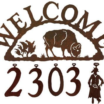 Buffalo Handcrafted Metal Welcome Address Sign - Rustic Lodge Series