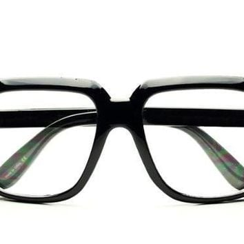 QIYIF Cazal Retro Square Clear Lens Eye Glasses run dmc